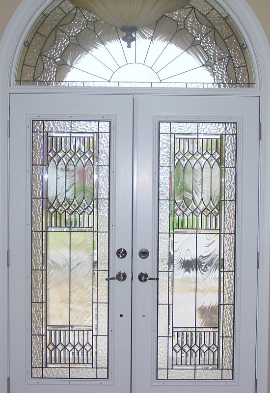 pair of doors and half circle window design ideas from customer & Beveled Glass Front Doors Leaded Stained Glass Entry Inserts ...