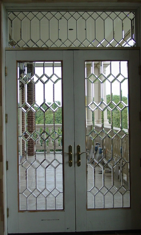 Beveled Glass Front Doors Leaded Stained Glass Entry Inserts Brooks Beveled Edges