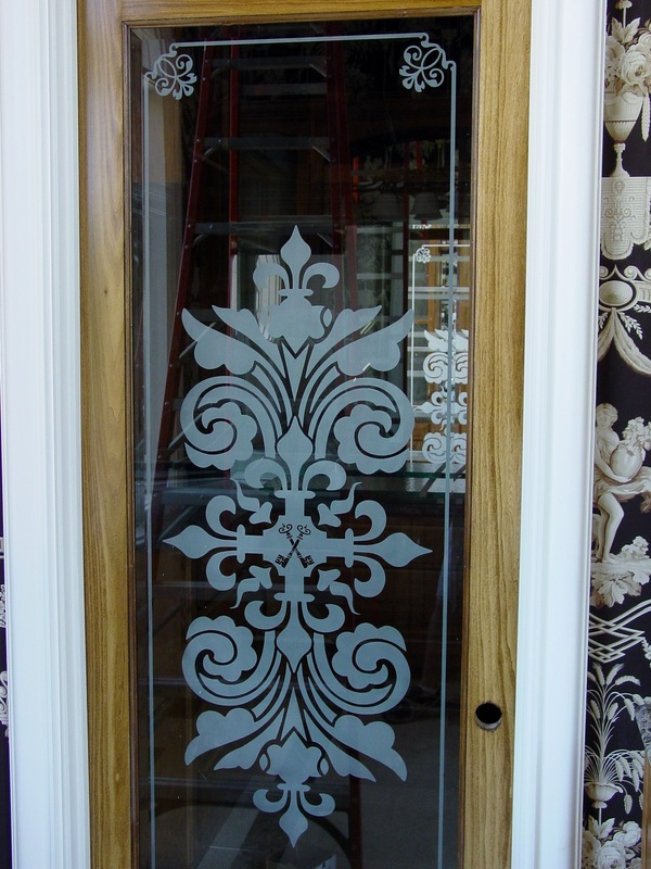Etched Glass Awards Windows Doors Custom Design Kitchens Brooks Beveled Edges
