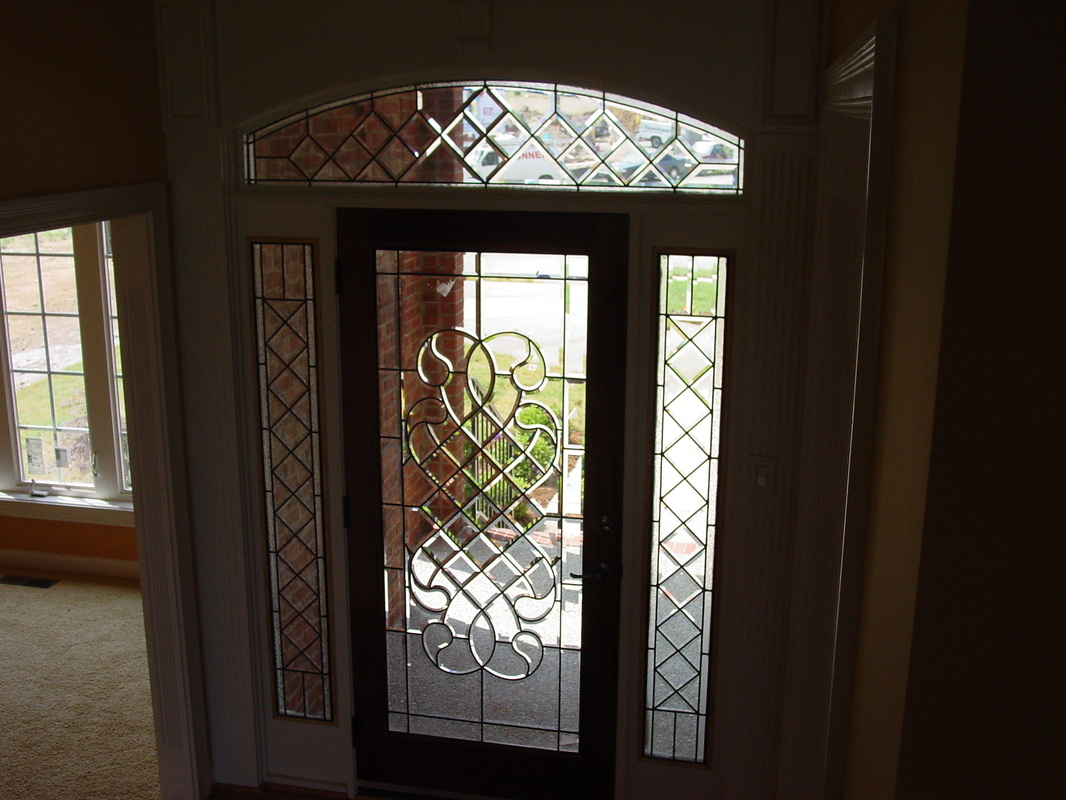 Door 44 & Beveled Glass Front Doors Leaded Stained Glass Entry Inserts ...